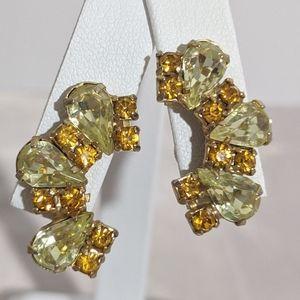 Vintage Yellow & Orange Rhinestone Gold Earrings